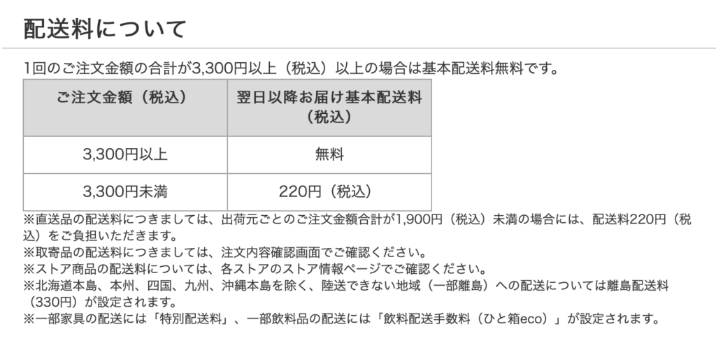ロハコの配送料の具体的な表